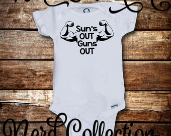 Baby Onesie Sun's Out Guns Out Barbell Workout Crossfit Trainer Gym Flex Baby Shower Gift Nursery Funny Custom Baby Clothing Gerber