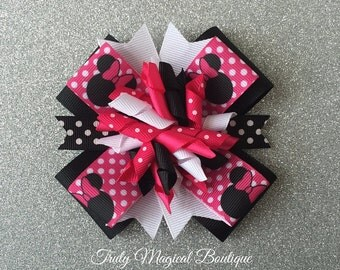 Minnie Mouse Bow | Minnie Mouse Hair Bow | Pink Minnie Mouse Bow | Minnie Mouse Headband | Disney Hair Bows | Disney Bows