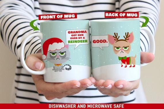 Coffee Mug Grouchy Cat Bah Humbug Christmas Mugs - Funny Christmas Cup - Funny Holiday Mug