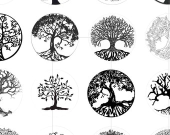 """Digital Images, Tree Of Life, Digital Collage Sheet, Resin Pendant, Magnets, 1.5"""", 1.25"""", 1 inch, 30mm, 25mm circles, dcc064"""