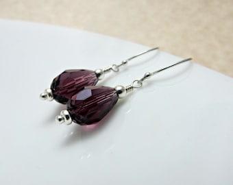 Czech Glass Amethyst Drop Beads and Sterling Silver Earrings - Dark Dreams