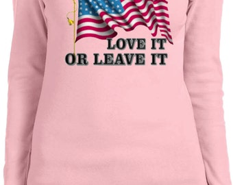 America Love It Or Leave It Ladies Long Sleeve Tee T-Shirt A9378A-5001