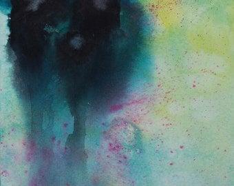 "SALE 40% Off Original Abstract Watercolor Painting, Dark Figures, 6"" x 8"""