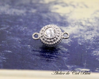 Magnetic Clasp - Magnetic Silver Clasp - Magnetic Rhinestone Clasp - Silver Ball Clasp - Japanese Jewelry Finding
