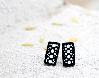 Abstract post earrings Stud earring Modern earrings Rectangular earrings Black and white earrings Stud geometric earrings Minimalist jewelry