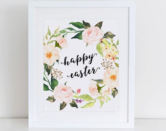 Happy Easter Art Print, Instant Download, Digital Art, Happy Easter Card, Easter Decoration, Printable Easter, Easter Habbit, Easter Bunny