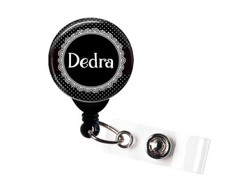 Personalized PolkaDot and Lace, Retractable ID Badge Reel  (D_132)