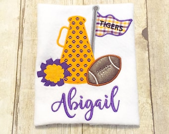 LSU Cheerleader Megaphone Football Shirt or Bodysuit - Customize to your favorite team - LSU Tigers - Gameday shirt - girls football shirt