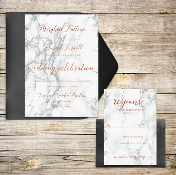 Items similar to rose gold wedding invitations marble for Etsy engagement party invites