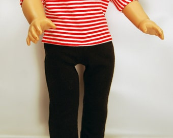 Handcrafted doll clothes designed to fit American girl dolls and other 18-inch dolls. Dolman Sleeve Top, Red Striped Top