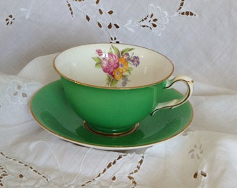 Vintage Bone China Kelly Green Taylor and Kent Teacup and Saucer Set Multifloral Irish Prairie Cottage Tea Party Bridal Shower