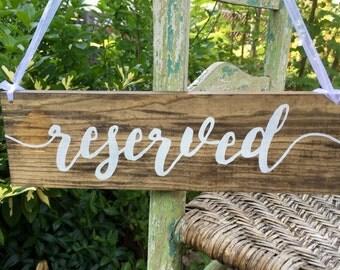 Reserved Sign, Reserved Wedding Sign, Reserved Chair sign, Reserved row sign, Reserved Signs for Wedding, Custom wedding sign, wood sign