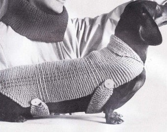 PDF Very Easy Knit Stitch Dachshund Dog Blanket Sweater Coat Knitting Pattern Instant Download