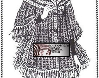 Crochet Poncho Fringed Cape Shawl Vintage Pattern PDF Instant Download