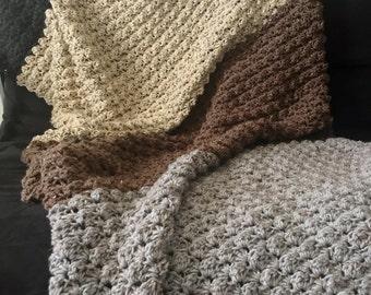 SUMMER SALE! 20% OFF! Color Block Crochet Blanket // Neutral Crochet Afghan // Blankets and Throws // Crocheted Throw Blanket