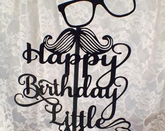 Little Man Cake Topper - Little Man Mustache Cake Topper - Mustache Party - Little Man Party - Decorations - Custom - Birthday Party - Posh