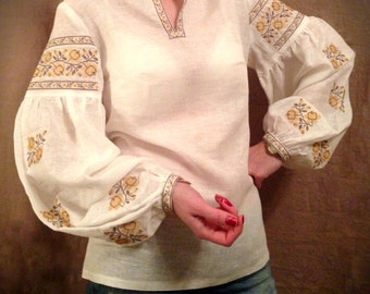 ukrainian embroidered boho blouse vyshyvanka bohemian ethnic shirt boho chic peasant top