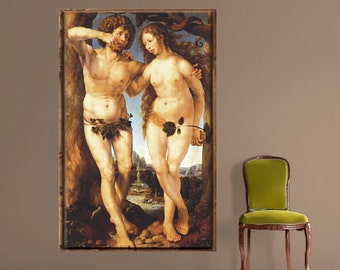 Adam and Eve Wall Decal, Renaissance Wall Decals, Renaissance Wall Designs, Renaissance Painting Decals, Removable Renaissance Art, a52