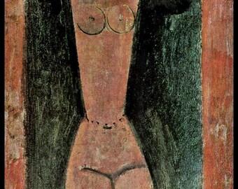 "Modigliani Print, Modigliani Painting, Amedeo Modigliani, Home Decor, Modigliani, ""Caryatid"",  Circa 1912, Vintage Book Plate Print"