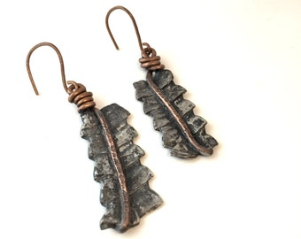 Mixed Metal Free Form Hammered Textured Dangle Earrings HANDMADE Earthy By Design,Dangle Earrings, Mixed Metal Dangles