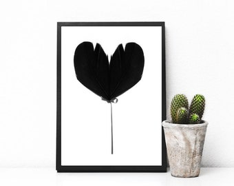 Instant download, printable art, minimalist art, black and white art, heart print, feather print, fine art, print minimalist - Balloon heart