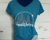 Hogwarts Castle V-neck, Harry Potter Shirt, Hogwarts Shirt, Harry Potter Clothing, Hogwarts Clothing, Women's Harry Potter Hogwarts V-neck