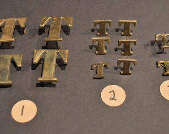 Vintage Solid Brass and Nickel Harness Letters - T