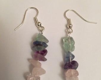 Rose Quartz and Fluorite Earrings