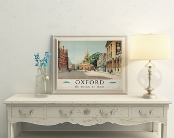Oxford Travel Poster Oxford University UK Travel Poster Britain Mid Century British Poster Travel Poster Vintage British Travel Print UK