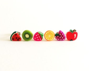 Fruit Salad Earring SET,  Polymer Clay Studs, 10mm Earrings,Kiwi,Watermelon,Orange,Apple,Strawberry,Grape,Fruit Earrings, Fruit Studs