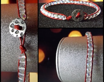 Red & Clear Beaded Bracelet