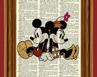 Classic Mickey & Minnie Mouse Upcycled Dictionary Art Print Poster