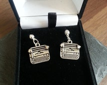 TypeWriter Silver Charm Earrings -Dangle Drop Stud/ Hoop Earrings , Gift for Her - The Writers Collection