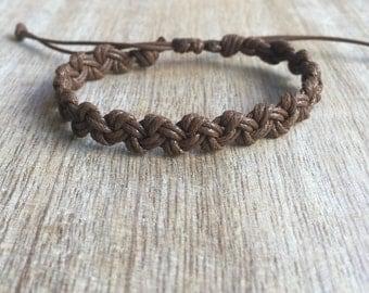 Brown Anklet, Waxed Cord Bracelet, Braided Anklet, Macrame Anklet, Surfer Anklet,  Unisex Anklet, Beach Anklets, Macrame Bracelet WA001095