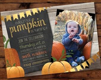 Little Pumpkin Birthday Invitation, Pumpkin Birthday Invitation, Autumn Birthday Invitation, Fall Birthday Invitation #001
