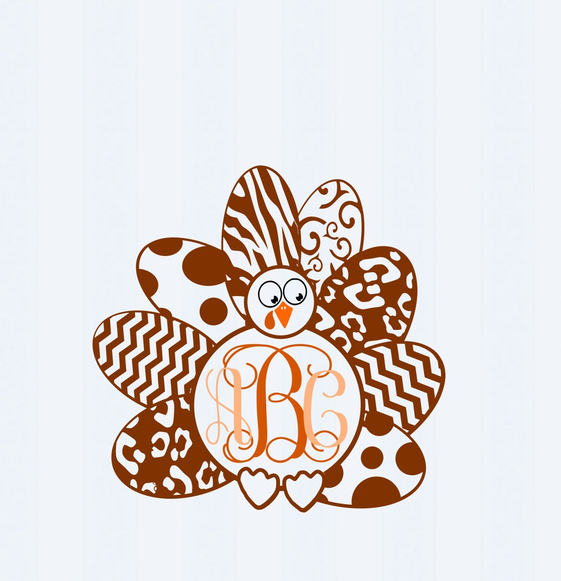 Turkey Monogram Frame Svgeps Png Dxf Studio By Jencraftdesigns