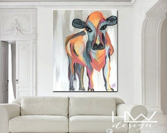 Calf 28x22 original abstract painting on canvas