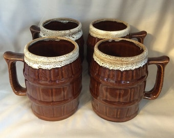Vintage BEER Mugs  Brown Drip Glaze, Large 24 oz Ceramic Beer BARREL Mugs Steins Mid Century Brown and White, RARE Vintage Barware Beer Mugs
