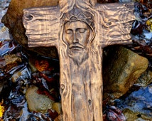"Wood Crosses 18""x10"" Christian Home Decor Religious Gifts Wooden Cross Wall Art Primitive Rustic Country Church Jesus Holy Rugged Decorative"