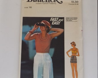 Butterick pattern # 4817  Misses walking shorts, short shorts  and tank top size 16, 1970's
