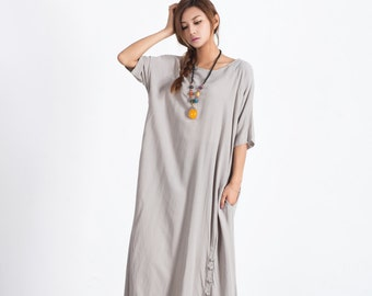 Women's Oversize maxi Dress Loose linen cotton dress cotton plus size clothing caftan linen kaftan large size dress Custom_made clothing A55