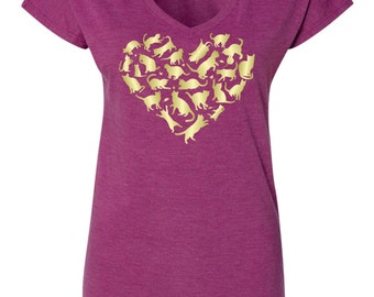 Love Cats on Ladies Semi-Fitted Tri-blend Tees - V-Neck - Crewneck - Scoop Neck
