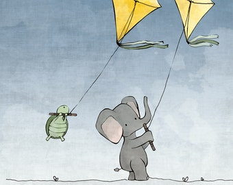 Elephant and Turtle Flying Kites - Nursery Art Print - with Blue Sky