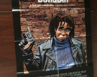 Original vintage movie poster from movie theater of Whoopi Goldberg in Burglar 1987 Comedy directed by Hugh Wilson