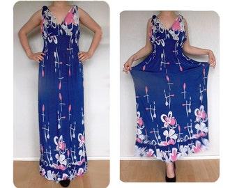 Twilight blue evening dress, vintage, large, maxi dress