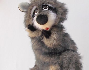 Raccoon. Marionette. Toy glove. Toy on hand. Puppet theatre. Bibabo.