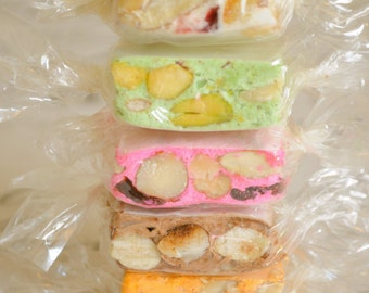 Nougat, four flavors Sampler in a gift box, 8oz of  handmade, Italian Torronne,  Gourmet Artisan candy with honey, fruits and nuts