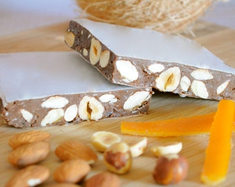Nougat chocolate coconut, Italian Toronne , bittersweet chocolate nuts, gluten free, artisan candy, Mother's day gift, Easter gift
