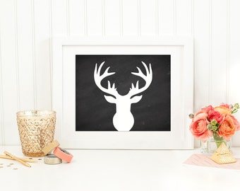 White Deer Head on Chalkboard Wall Art Printable 8x10