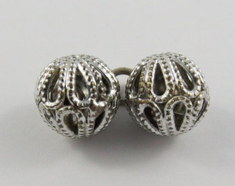 Pair of Ringing Ball Bells Mechanical Sterling Silver Vintage Charm For Bracelet